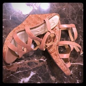 NWOT Tan Jessica Simpson Strappy Wedge